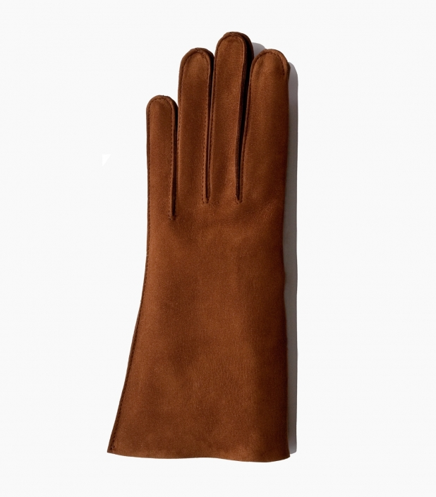 Men full-leather Saumur gloves, chestnutt