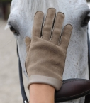 Woman full-leather Saumur gloves, taupe