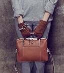Women full-leather Saumur gloves, chestnutt