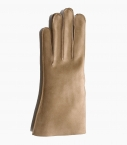 Men full-leather Saumur gloves, taupe