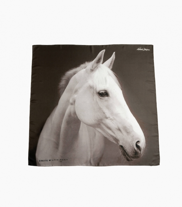 Guibert Paris - White Horse head silk scarf