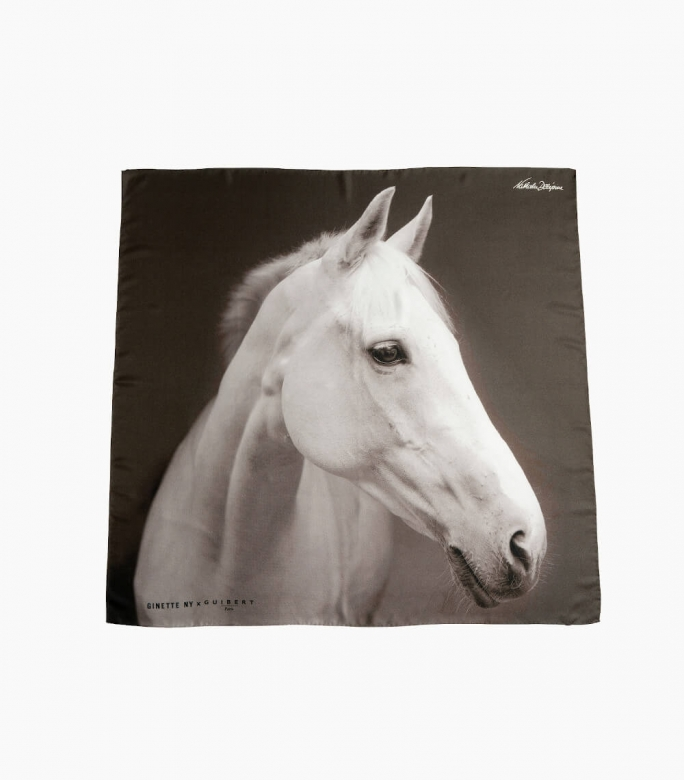 Guibert Paris - Foulard Guibert 100 % soie imprimée tête de cheval