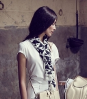 Modal & cashmere scarf, black and white 70x200