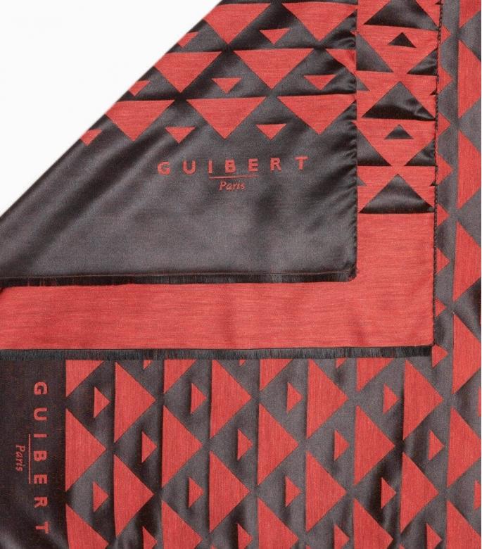Echarpe Quarter Marker laine & soie,noir & rouge