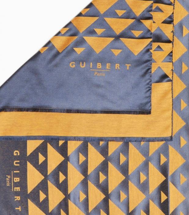 Echarpe Quarter Marker laine & soie, navy & ocre