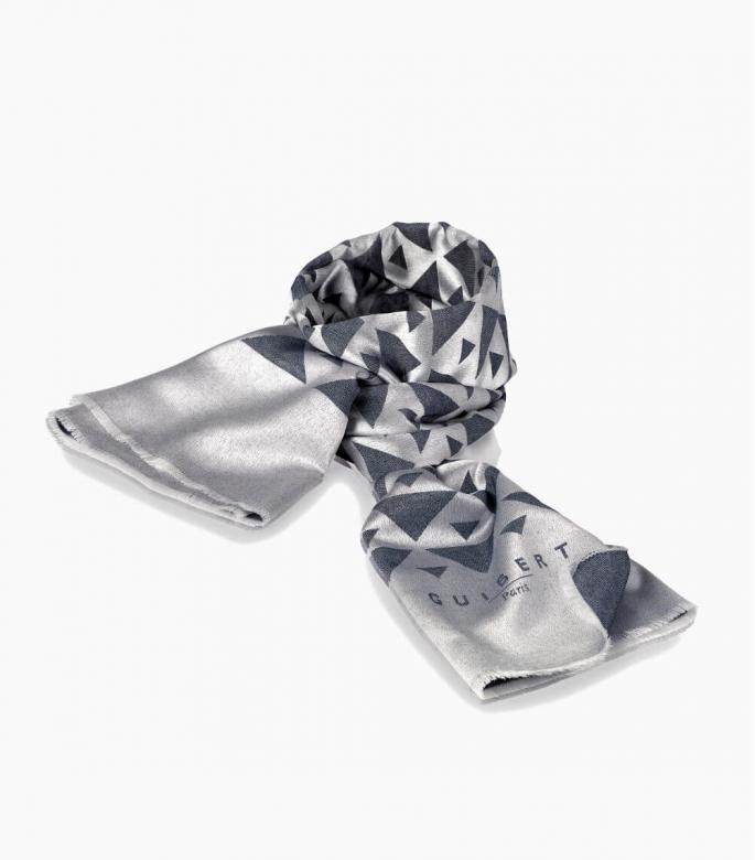 Silk & wool Quarter marker scarf, denim
