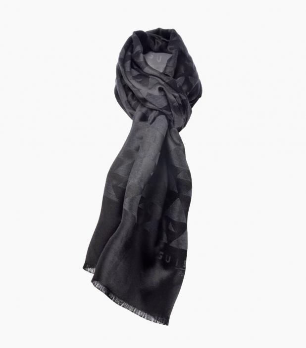 Silk & wool Quarter marker scarf, anthracit