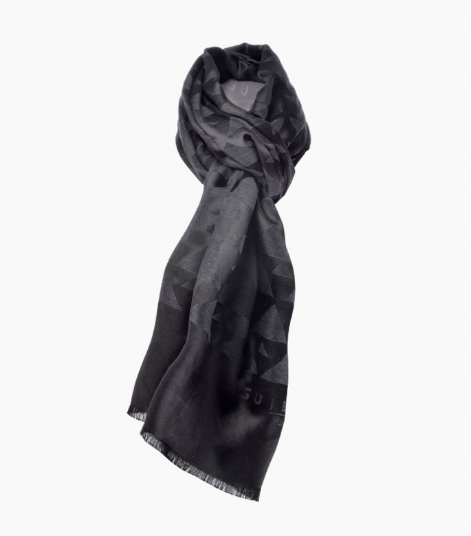 Silk & wool Quarter marker scarf, anthracit