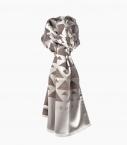 Silk & wool Quarter marker scarf, navy and ocher