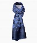 Silk & wool Quarter marker scarf, indigo