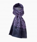 Silk and cotton Quarter Marker scarf, amethyst night