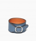 Cuff bracelet taurillon leather, peacock blue