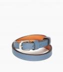 Bracelet sous gorge cuir taurillon, bleu canard