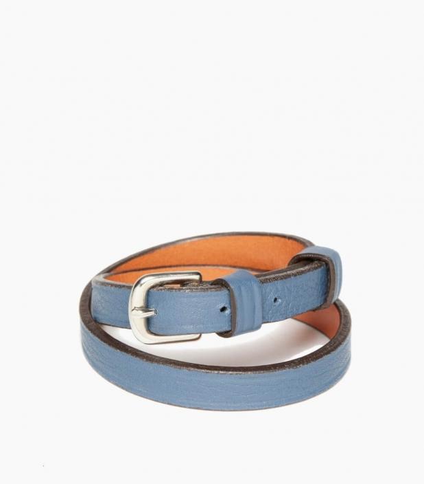 Throatlash taurillon leather bracelet, peacock blue