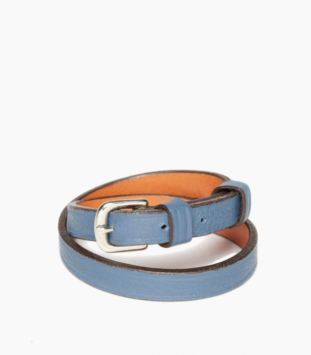 Throatlash taurillon leather bracelet, peacock blue