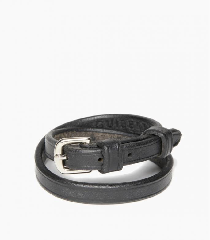 Bracelet sous gorge cuir végétal, noir