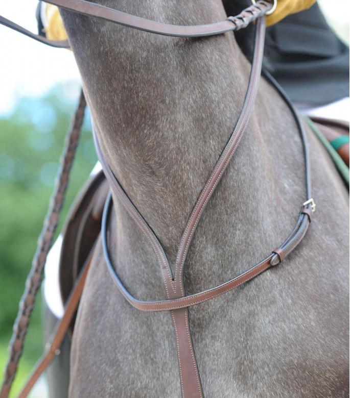 Guibert Paris - Martingale Atherstone en cuir de briderie à anneaux