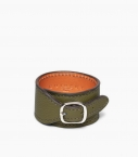 Cuff bracelet taurillon leather, kaki