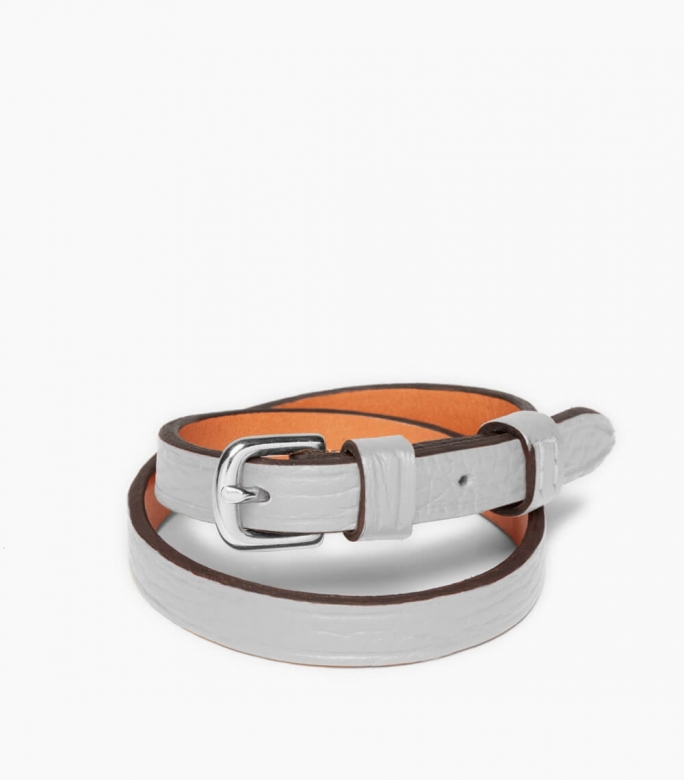 Throatlash bracelet Taurillon leather, pebble