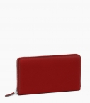 Zipped purse 8 cards taurillon Pessoa, red