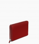 Pochette zippée 8 cartes taurillon Pessoa, rouge