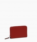 Zipped change purse 4 cards taurillon Pessoa, red