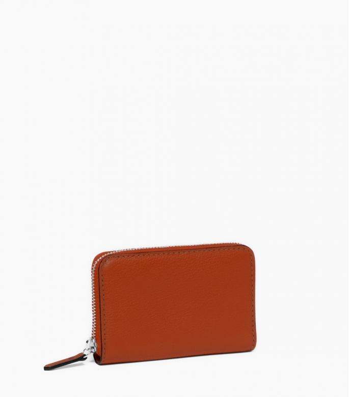 Zipped change purse 4 cards taurillon Pessoa, massaï