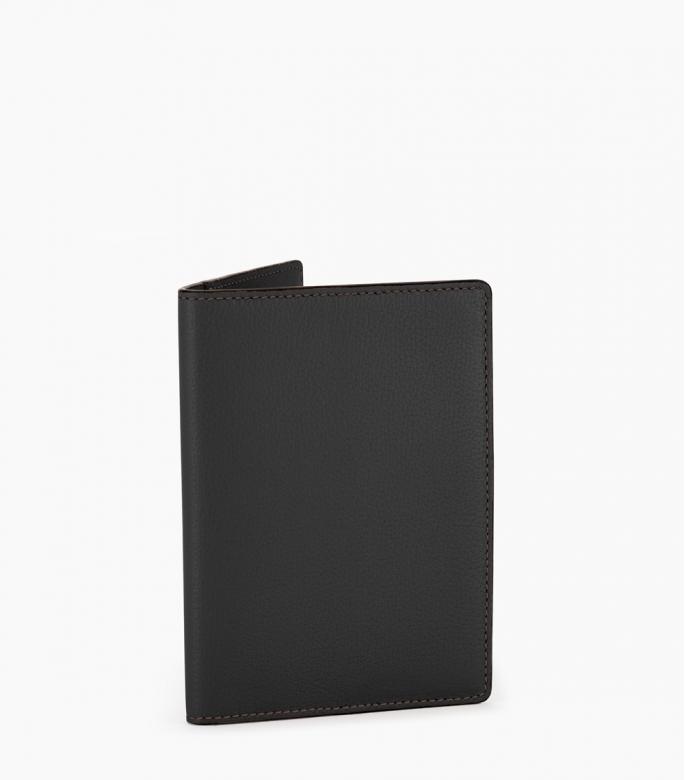 Porte-passeport taurillon Pessoa, noir