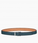 Stirrup buckle belt 30 mm taurillon, peacock blue
