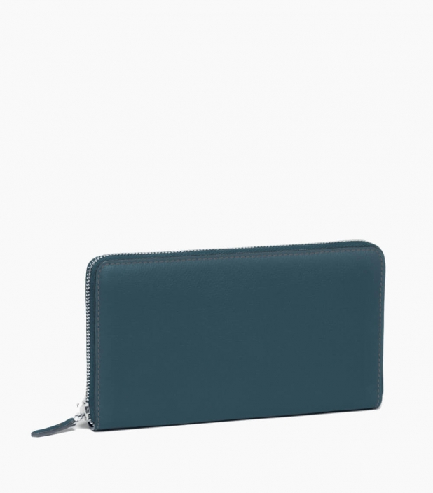 Zipped organizer 8c taurillon, peacock blue