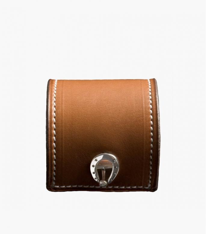 Manchette cuir et argent Barénia® Indiana, gold