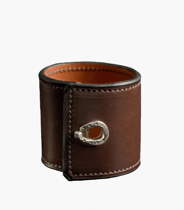 Leather and silver cuff Barénia® Indiana, havana
