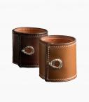 Leather and silver cuff Barénia® Indiana, havana