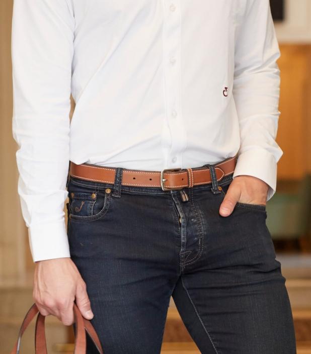 Guibert Paris stirrup buckle belt in barenia leather