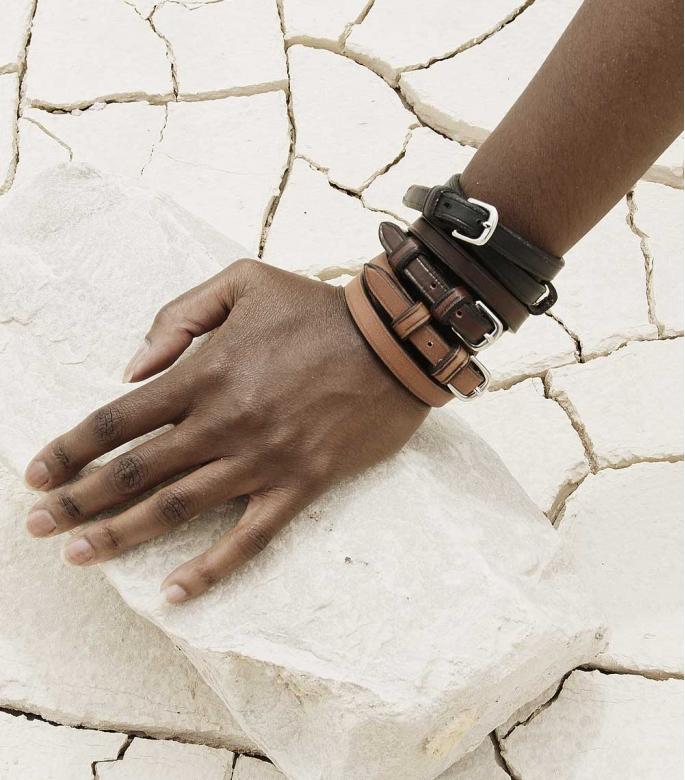 Throatlash bracelet Barenia, havana